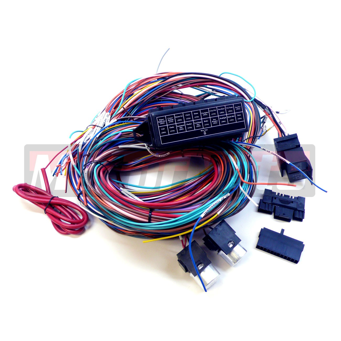 complete universal 12v 20 circuit 20 fuse wiring harness. Black Bedroom Furniture Sets. Home Design Ideas