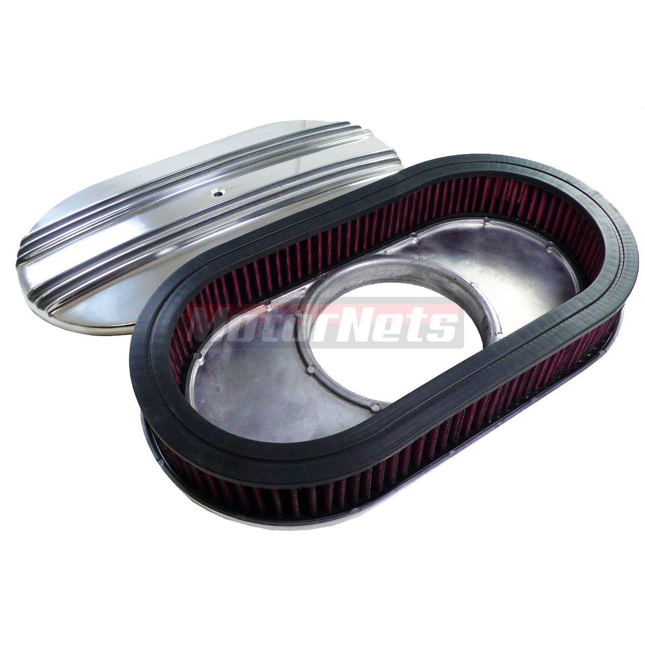 Street Rod Air Cleaners : Quot polished finned aluminum air cleaner breather washable