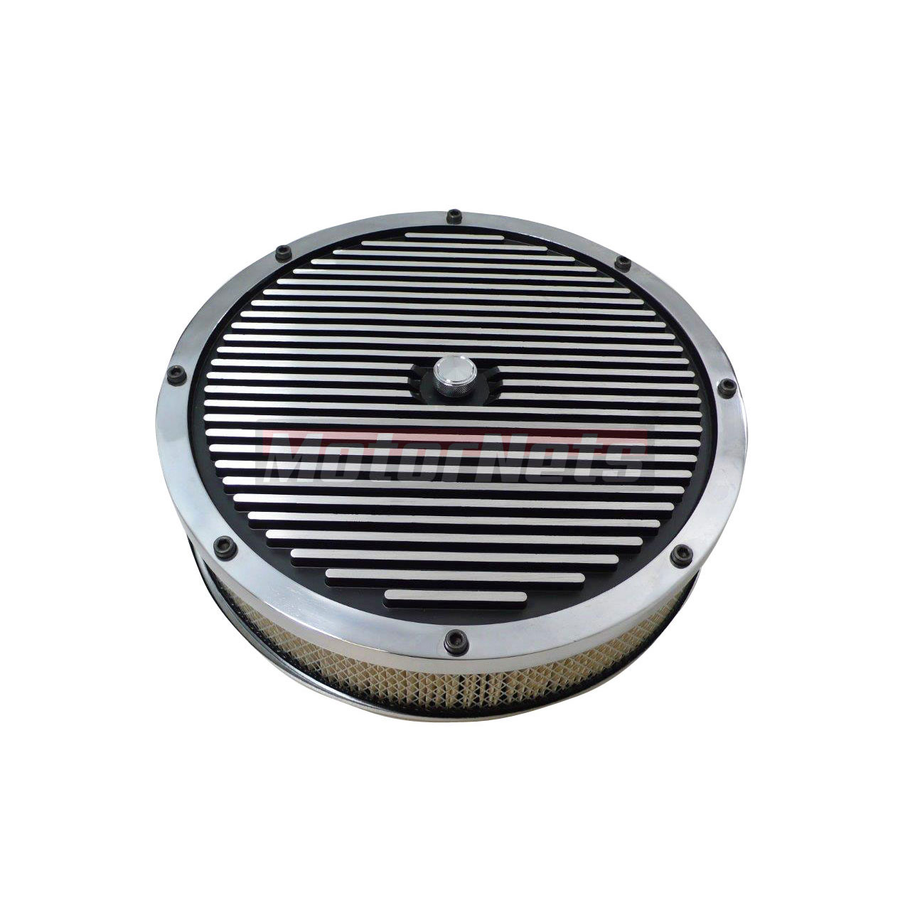 Finned Air Cleaner : Quot round elite style aluminum air cleaner finned black