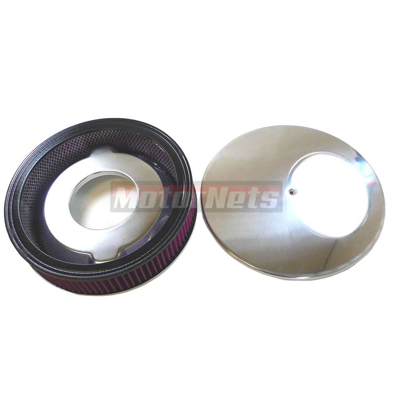 """14/"""" Round Smooth Polished Plain Aluminum Air Cleaner Street Hot Rod Filter"""