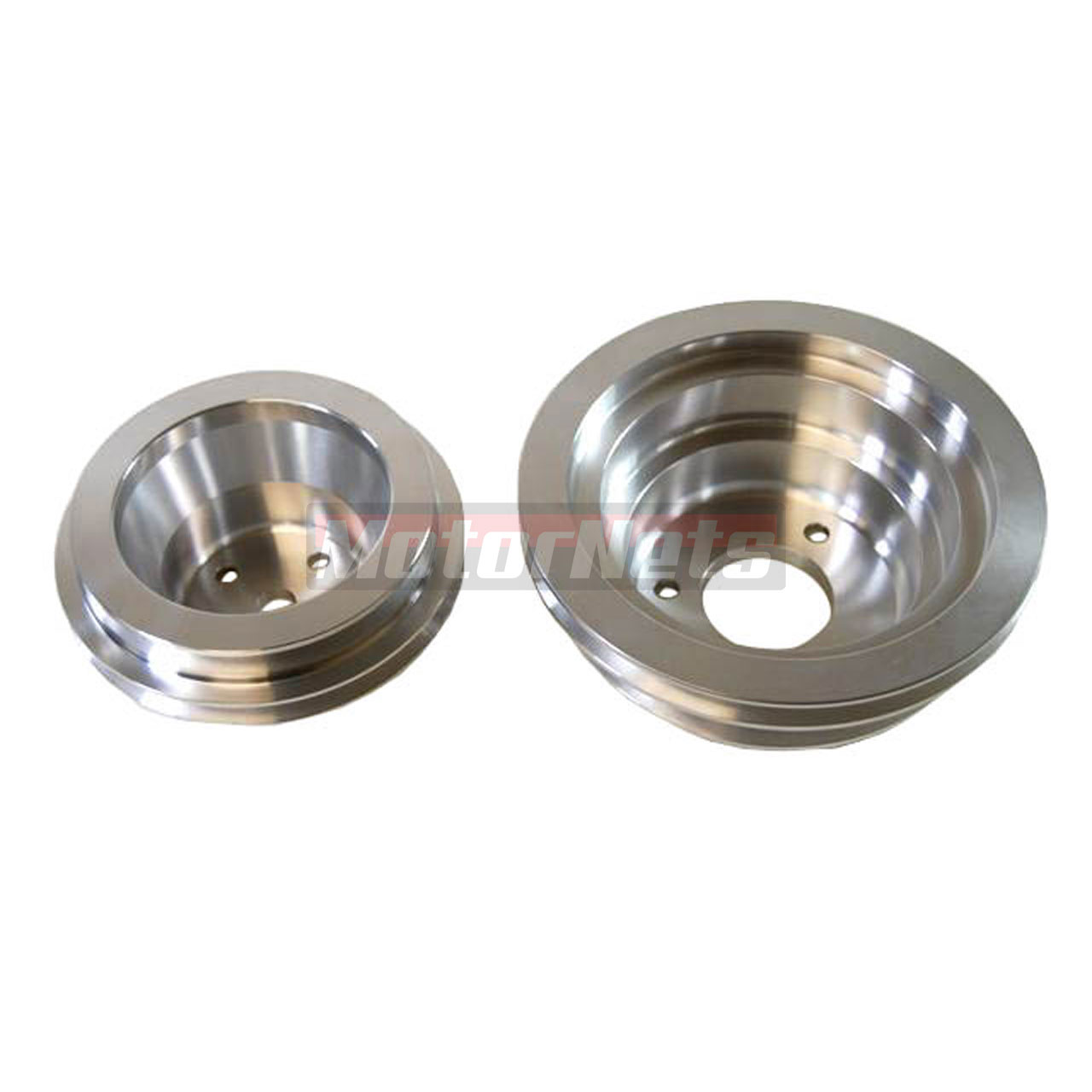 Big Block Chevy Satin Aluminum Pulley Set 2/3 Groove Long