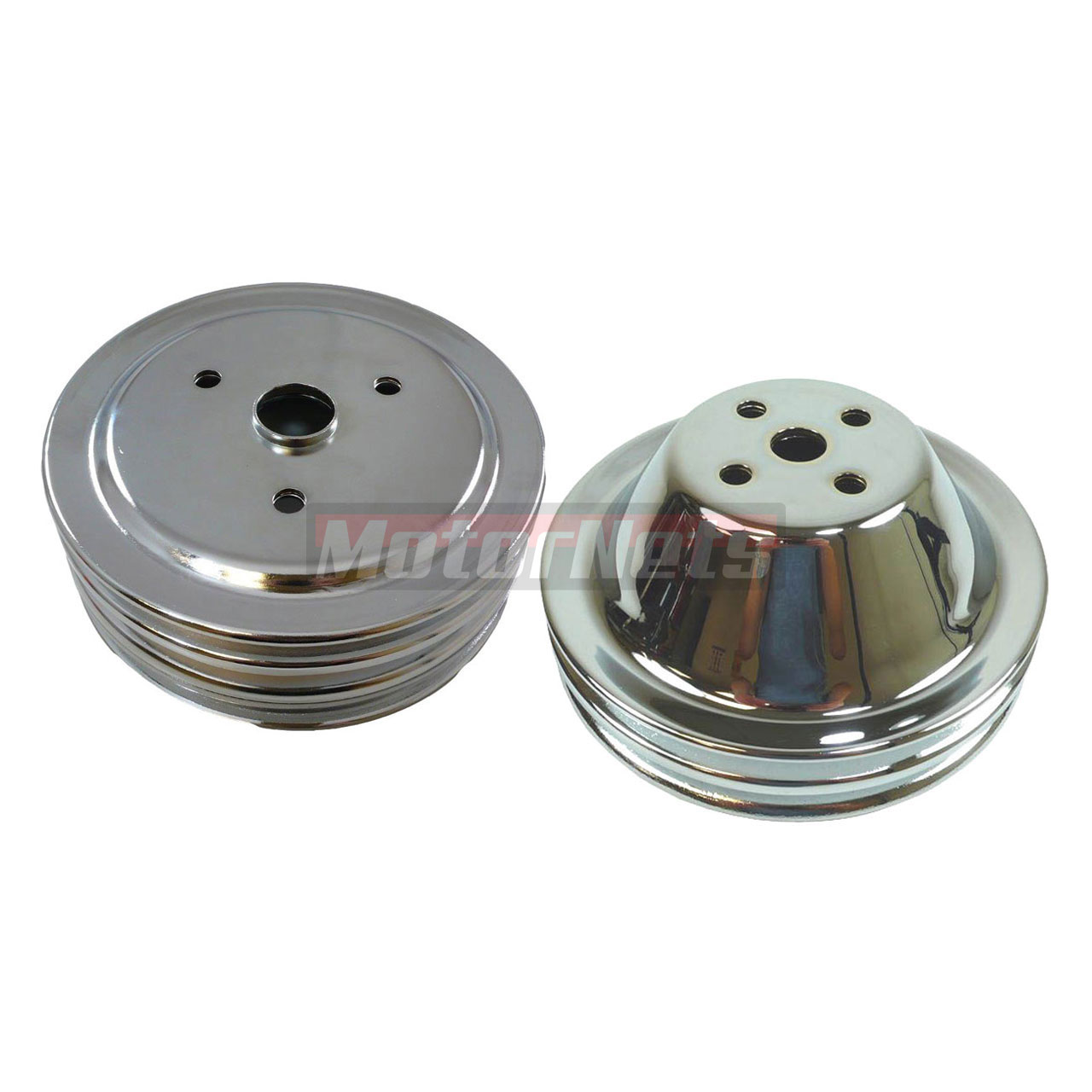 SMALL BLOCK CHEVY CHROME SHORT WATER PUMP PULLEY KIT 2 GROOVE