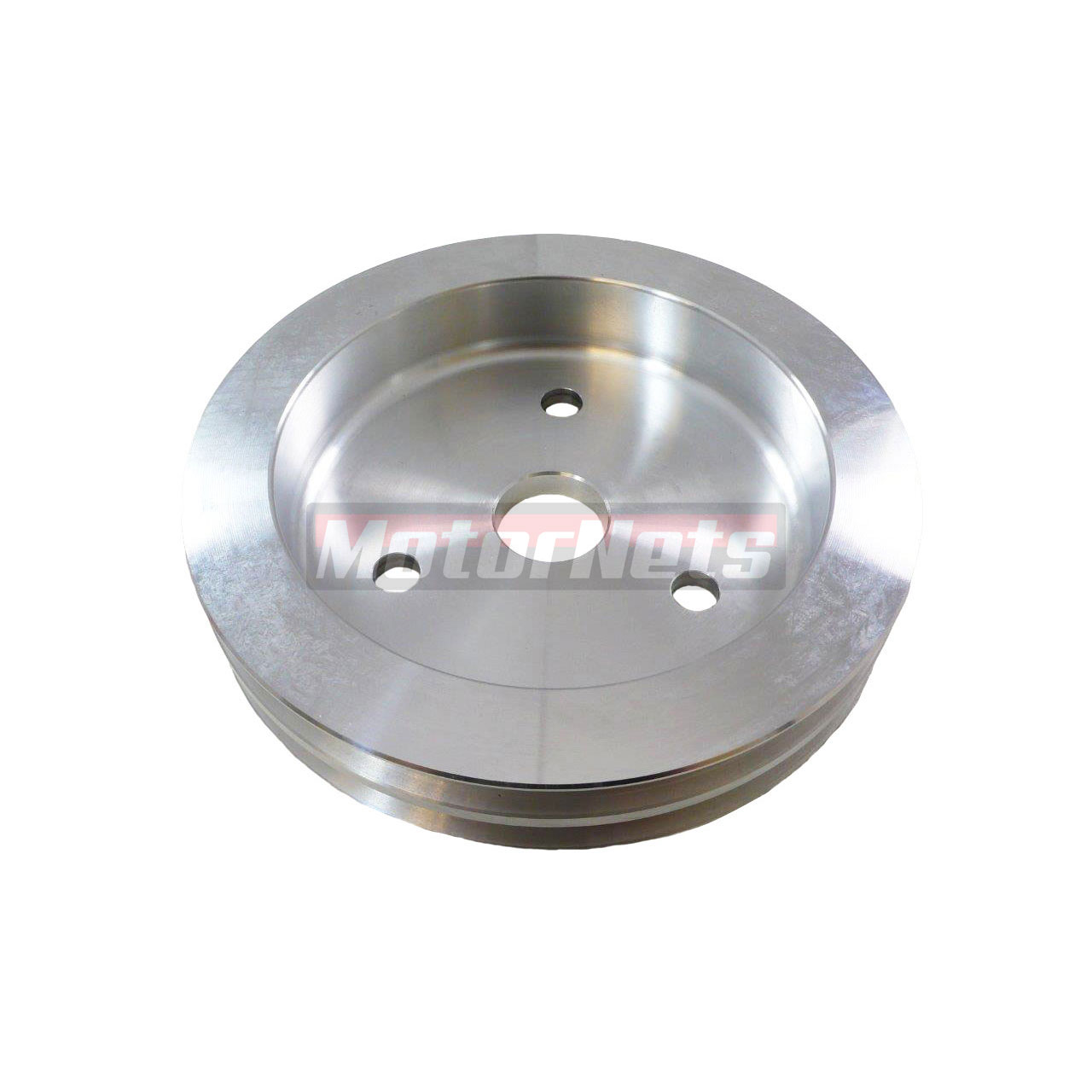 SB Chevy Satin Aluminum Crankshaft Pulley 2 Grooves SWP