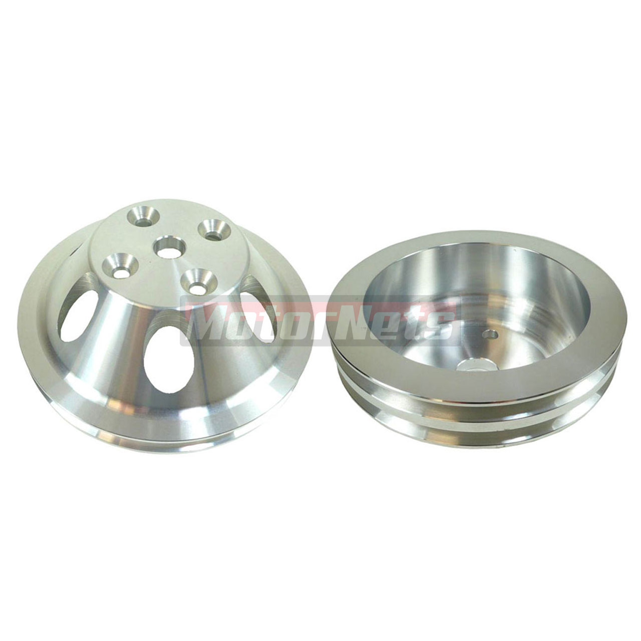 SB Chevy Billet 1Groove Upper 2 Groove Lower LWP Pulley