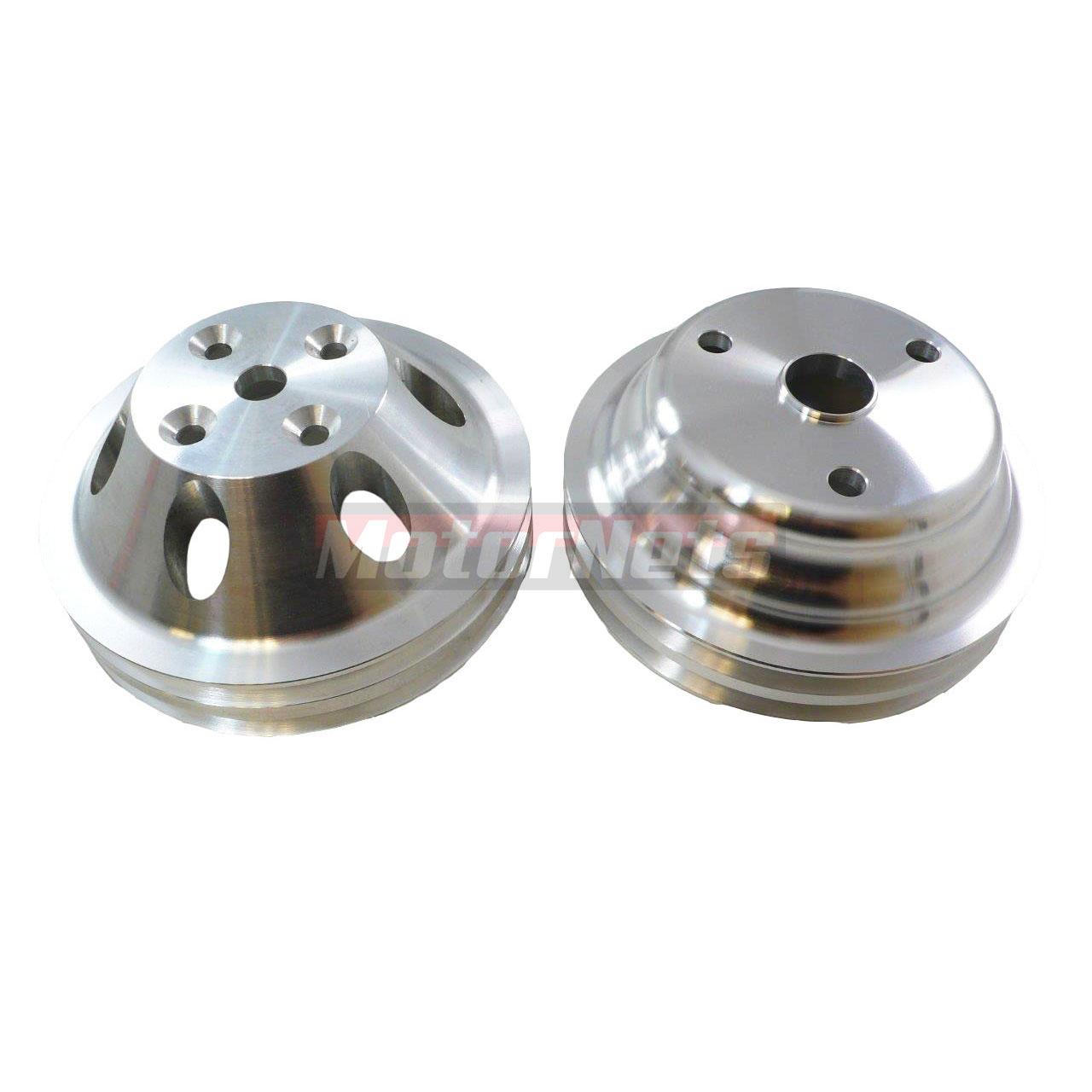 Satin Aluminum Pulley Set SBC Chevy 283-350 Long Water