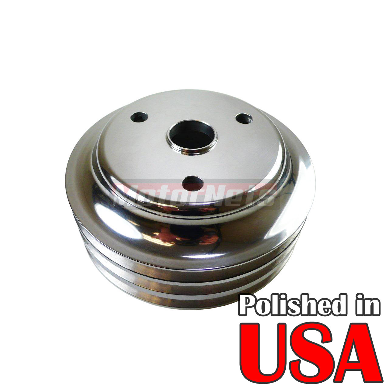 Polished Aluminum SBC Chevy 283-350 Crankshaft Pulley Long