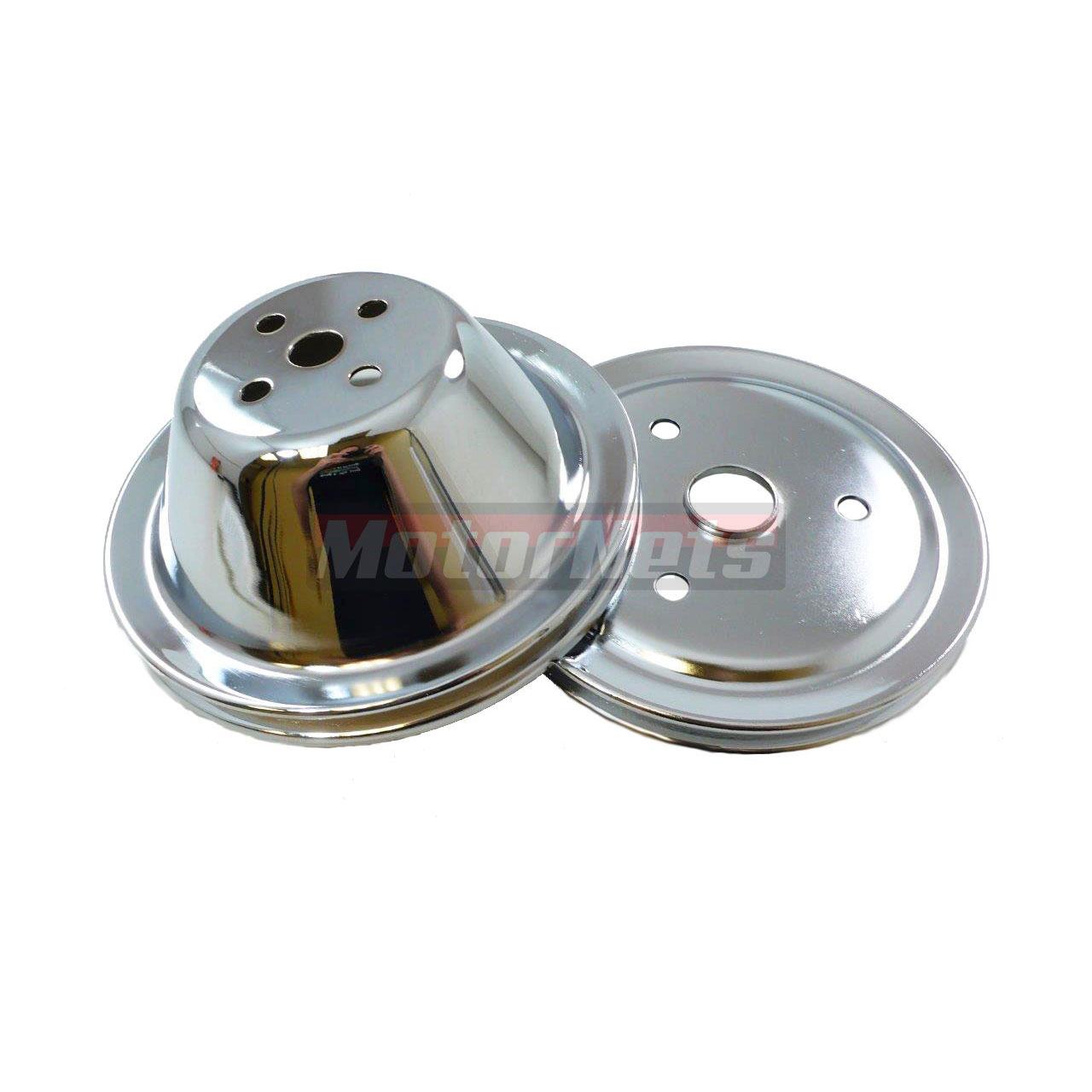 Chrome Steel Pulley Set Sbc Chevy 283 350 Short Water Pump