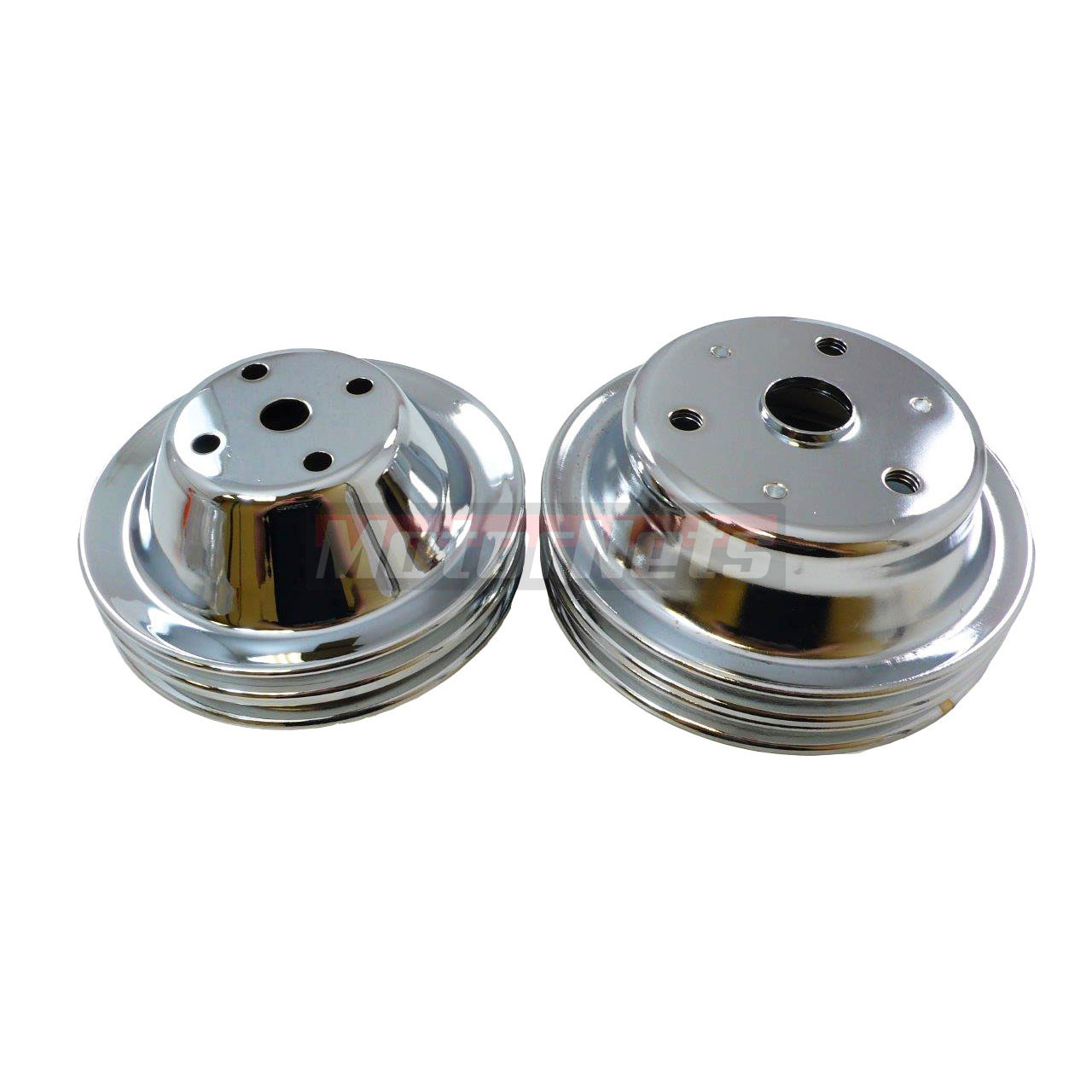 Chrome Steel Pulley Set SBC Chevy 283-350 Long Water Pump